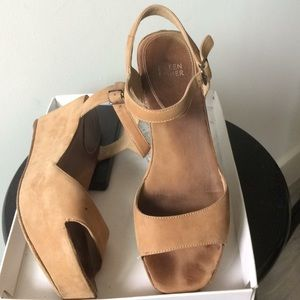 Eileen Fisher leather tan wedges